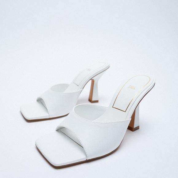 Zara NWT white heeled open toed mules size 5/36